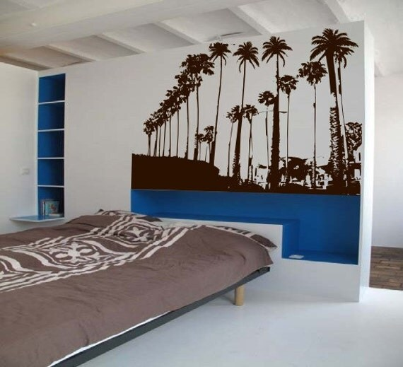 BIG Summer Boardwalk Mural -Vintage Palm Trees in a Beach Street Scene - Vinyl wall art decals Sticker by 3rdaveshore 151