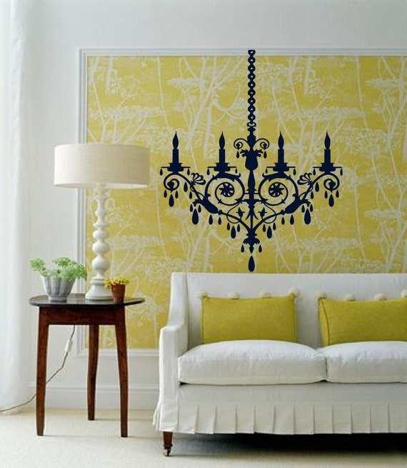 Simple Chandelier with a vintage look - a great wedding gift -  lights - Vinyl wall art decals stickers by 3rdaveshore 158