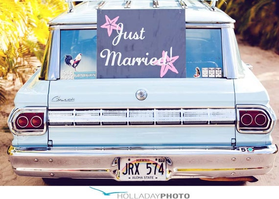 Just Married or Happily Ever After - Custom Coastal Wedding Car Decoration -- Vinyl windshield decals stickers by 3rdaveshore 148