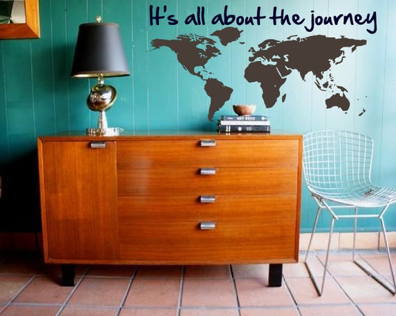 Map your Journey - Explore, Dream, Discover the WORLD - vinyl wall art  decals sticker graphic by 3rdaveshore 108