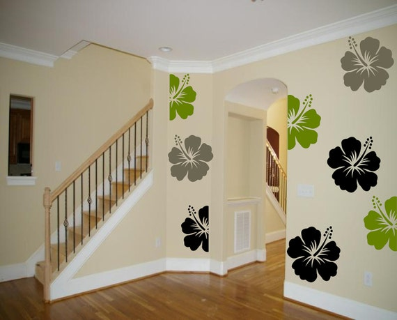 8 very LARGE Hawaiian Hibiscus Flowers - vinly wall art decals stickers graphics by 3rdaveshore 122