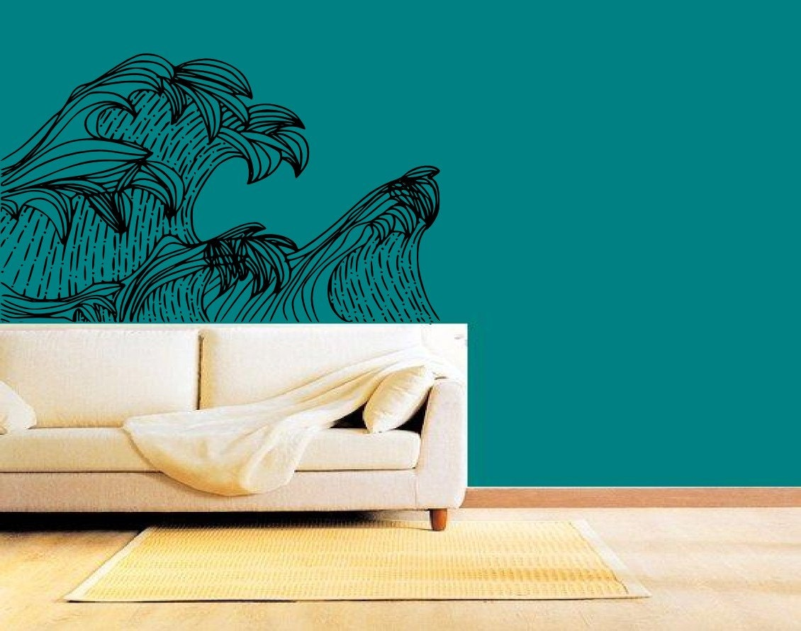Vintage inspired wave art vinyl wall decal graphic sticker - Vintage inspired wall art ...