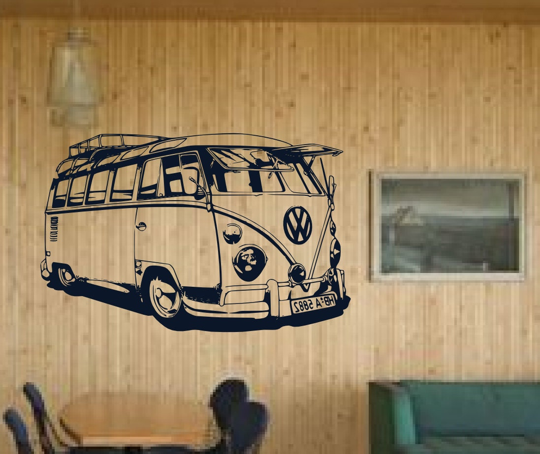Old school vw bus detailed xl driving mural surf by for Classic mural painting