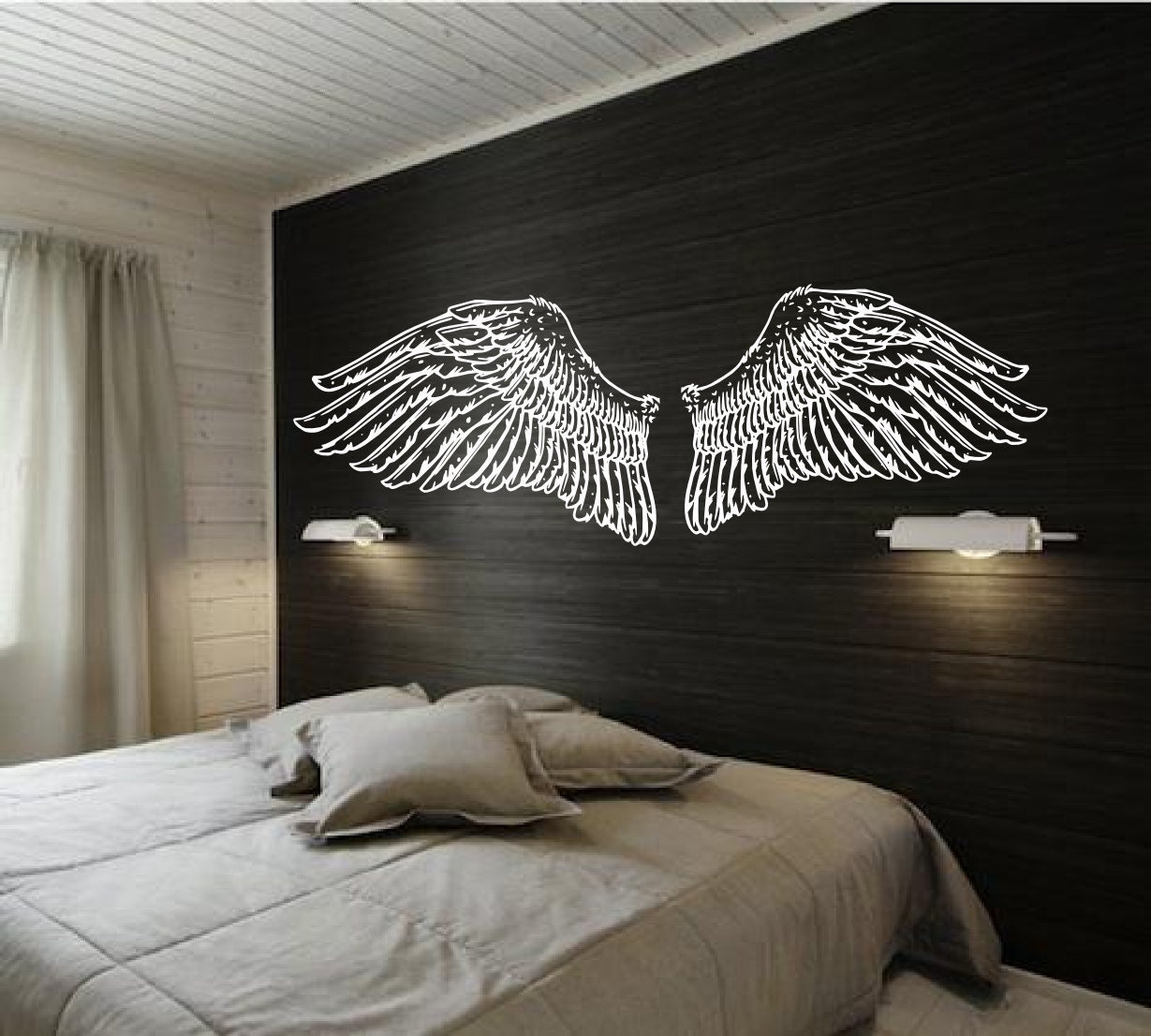 Angel wings for headboard vintage inspired illustration for Angel wall decoration