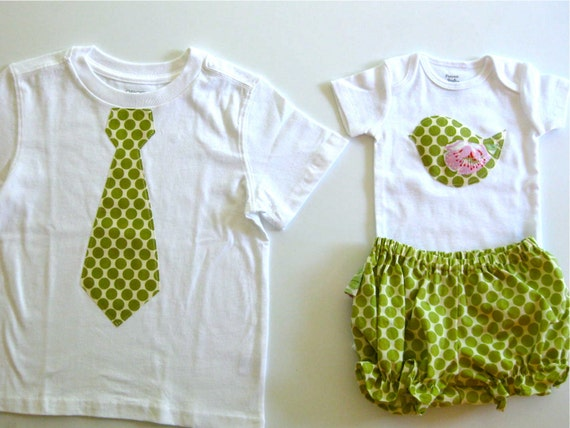 Green polka dot Tie T-shirt size 3T and 0-3 mth birdie onesie with matching bloomers