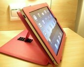Professional iPad Babe Pink Faux Leather Frame Design Sleeve Case w/ Velour Lining and Support Stand Lock (Plain Option)