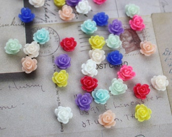 10 Plastic Resin Rose Cabochons 8mm [FCAB1034]