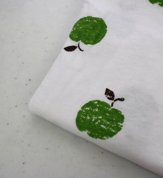 Destash Apple Jersey Knit Stretch Fabric White Green