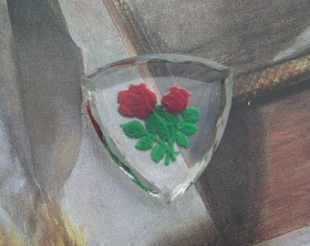 Vintage Cabochon  Rose Intaglio Glass Reverse Painted Beveled