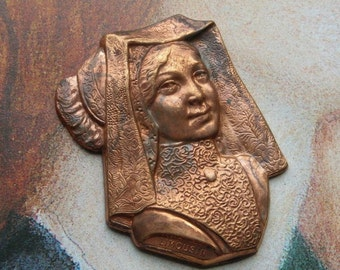 Vintage Brass Stamping French Woman Finding Limousin Ethnic