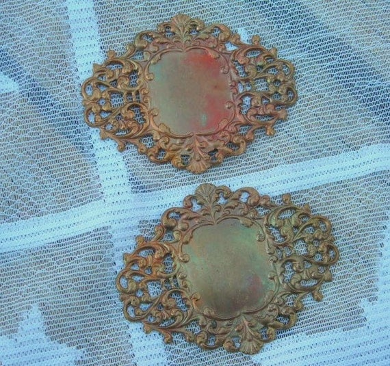 Vintage Brass Stamping Ethnic Inspired Ornate Plaque Finding Pair Filigree