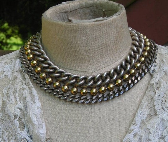 RESERVED for LAURA  Collar Gold Silver Tone