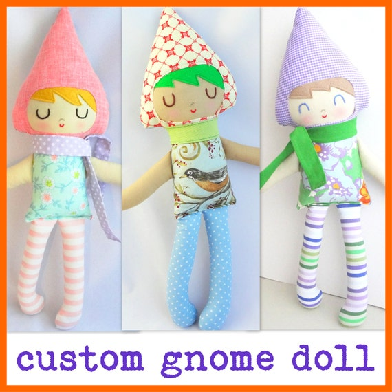 Gnome doll...custom made rag doll personalized doll gift for boy or girl
