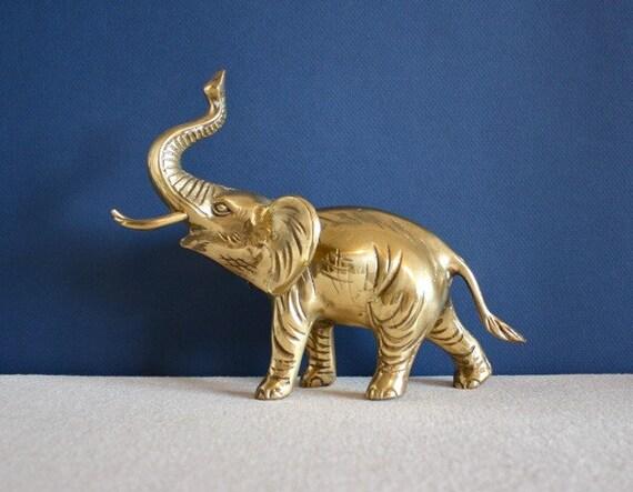 Vintage Large Brass Elephant Statue
