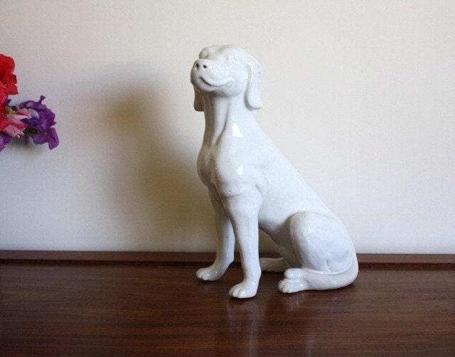 Vintage White Ceramic Dog Statue