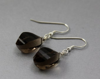 Smoky Love, Smoky Quartz Earrings, Sterling Silver, Wire Wrapped, Elegant Jewelry
