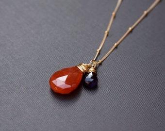 Fashionista, Carnelian Necklace, African Purple Amethyst, 14k Gold Filled, Gemstone Jewelry