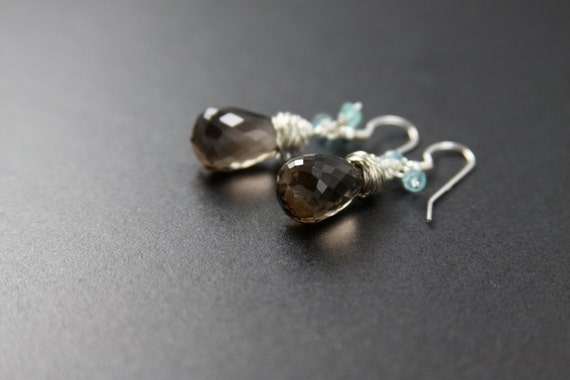 Smoky Topaz Earrings - Sterling Silver - Topaz Jewelry - Topaz Earrings - Wire Wrapped