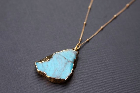 Get Trendy, Turquoise Stone Necklace, 14K gold filled, Trendy Jewelry, FREE shipping