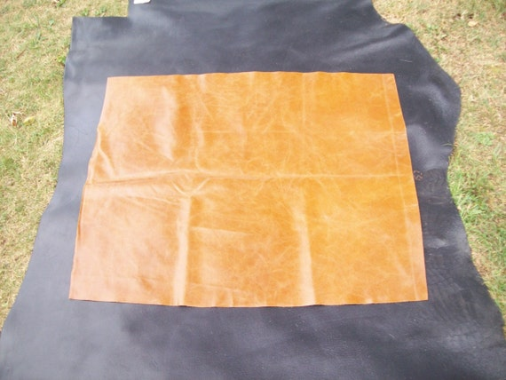 DR863   26x36 inch caramel color leather cowhide remnant