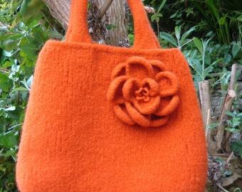 PDF knitting pattern for  Pumpkin Orange Felted Bag