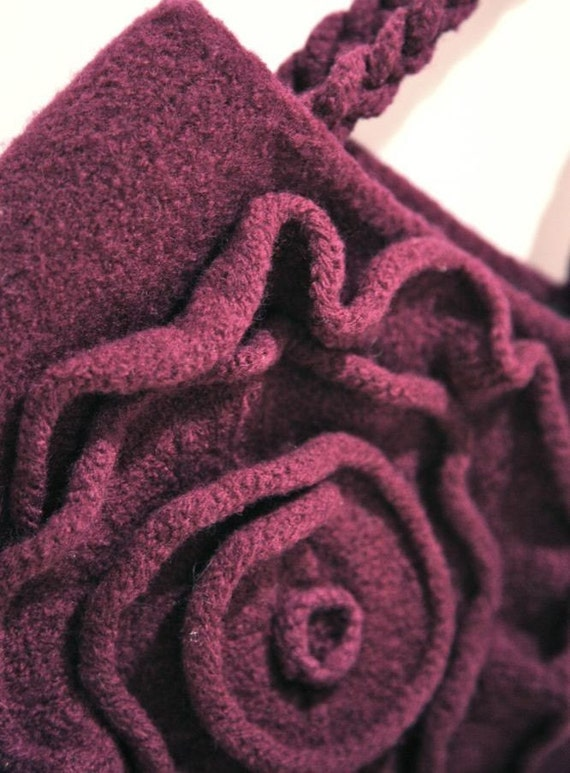 PDF Knitting Pattern for Purple Felted Rose Bag from bagsofinspiration on Ets...