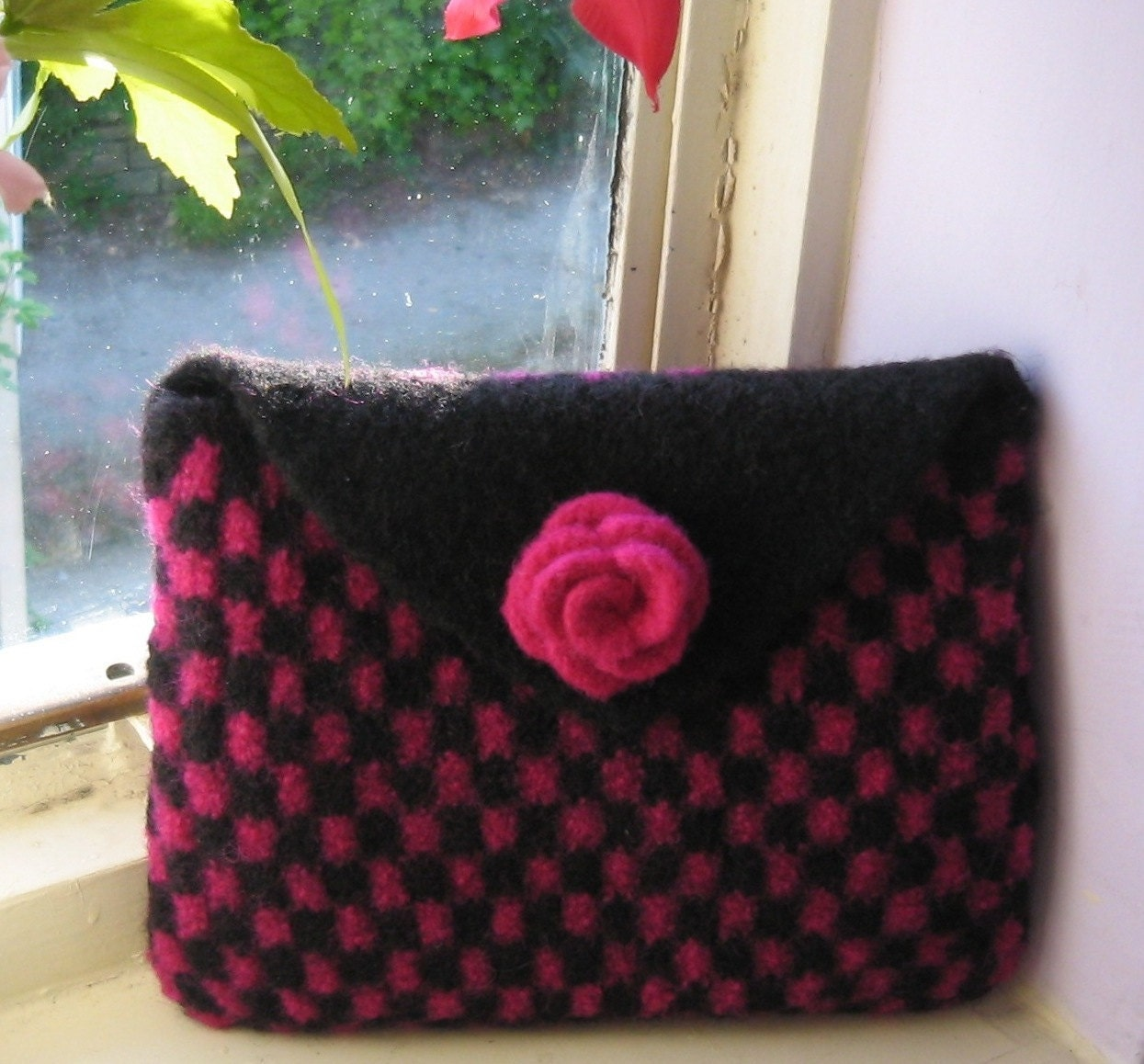Knitted Clutch Bag Pattern : Cerise & Black Felted Clutch Bag PDF Knitting Pattern