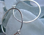 Hammered Hoops in Sterling Silver, One Inch, Simple, Elegant, Classic