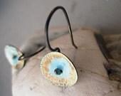 Robin's Egg Blue, Organic, Handmade Sterling Silver Earrings