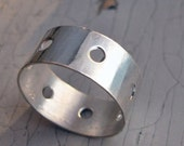 Handmade Sterling Silver Band, Forged with Holes, Wedding, Engagement, Size 6