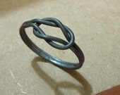 Handmade Oxidized Sterling Silver Love Knot Ring, Size 7, In Stock