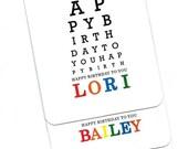 Eye Chart Card.Happy Birthday.Eye Chart.Custom.Name.Paper Goods.Eye Exam.Eye Test.Eyes.Site.Vision.Optometrist.Eye Doctor. by Yvonne4eyes
