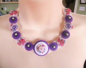Purple for Mom Button Necklace