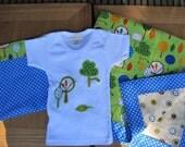Trees and Dots Baby Blanket, Organic T-shirt, and Supply bag set