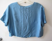 vtg 60s blue cropped blouse, medium-large--SALE