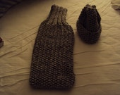 Hand Knit Hat and Scarf Set in Mable Grey made from Wool-ease