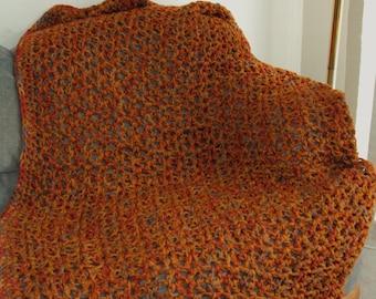 Crochet V stich Afghan Blanket in Brick Red, Honey, Light Brown and Grey