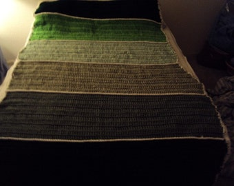 Crochet Afghan or Blanket with Six Panels in Shades of Kelly Green, Honeydew, Dark Green, Light Green