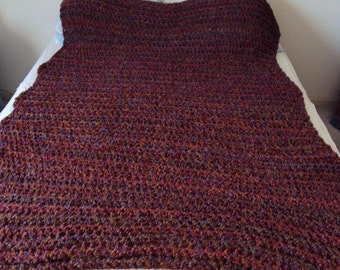 Crochet Afghan or Blanket Party Color using Homespun Yarn Crochet Purple