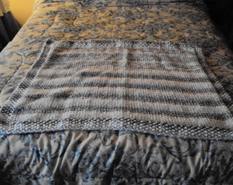 Hand Knit Baby Blanket in Shadows of Blue and White Rainbow