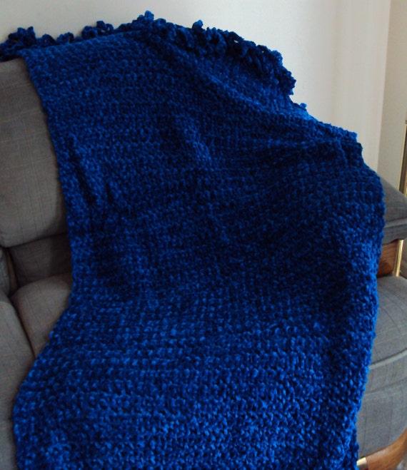 Crochet Shawl Royal Blue in Think Chenille