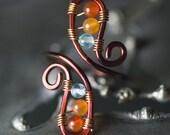 Apatite and Agate Bronze Copper Toe Ring