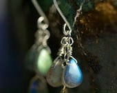 "Labradorite Cluster Sterling Silver Earrings - Luxe, AA Grade Gemstone, Blue Fire, Iridescent - ""Moon Tears"" by Moss and Mist Jewelry"