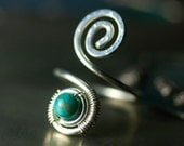 "Turquoise Toe Ring, Argentium Silver Spiral Wirework Toe Ring - Chinese Turquoise, Nickel Free, Blue, December Birthstone - ""Andromeda"""