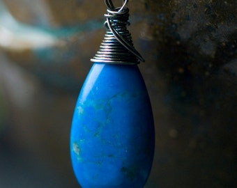 """Blue Howlite Turquoise Wirewrapped Pendant Sterling Silver Necklace - Deep Blue Azure Sky Oxidized Nature MossandMist - """"Montana Sky"""""""