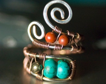"Green Turquoise Jasper Pyrite Sterling Silver Copper Wirework Ring - Red River Jasper, Oxidized, December Birthstone - ""Silver Creek"""