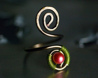 """Copper Toe Ring, Hot Raspberry Pink Freshwater Pearl, Green, Bronze Copper Spiral Wirework Toe Ring, Hot Pink - """"Sorbet Summer"""""""