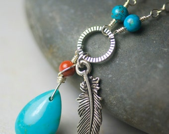 """Turquoise Necklace, Red River Jasper, Sterling Silver Necklace - Robin's Egg Blue, Feather Charm, December Birthstone - """"Azure Wind"""""""