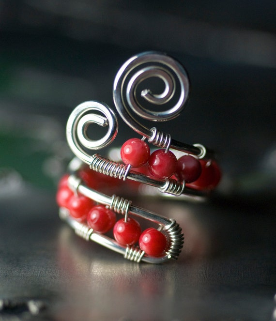 "Red Coral Ring, Sterling Silver Wirewrapped Ring - Cherry Red Bamboo Coral, Caterpillar, Spiral, Women's Fashion - ""Cherry Bomb"""