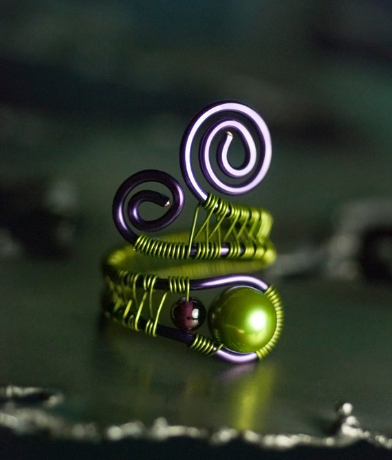 "Green Pearl Garnet Copper Wirewrapped Ring, Freshwater Pearl, Dark Red, Violet, Purple, Grass, Moss, June Birthstone - ""Moss Falls"""